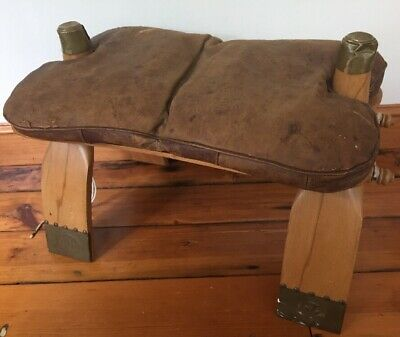 Vintage Antique Egyptian Camel Leather Saddle Bag Wood Brass Foot Stool Ottoman