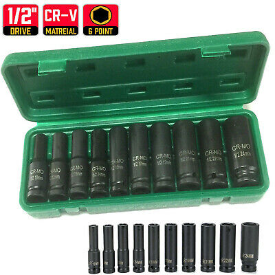 10-24mm Deep Impact Socket Set 1/2inch Sq Drive Metric Epair Grade 10PCS Tool FN