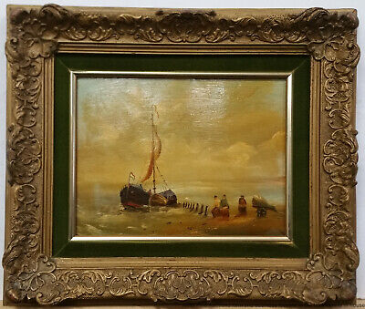 Antique Signed Haas Dutch Ca1900 Fisherfolk Beach Seascape Oil Painting