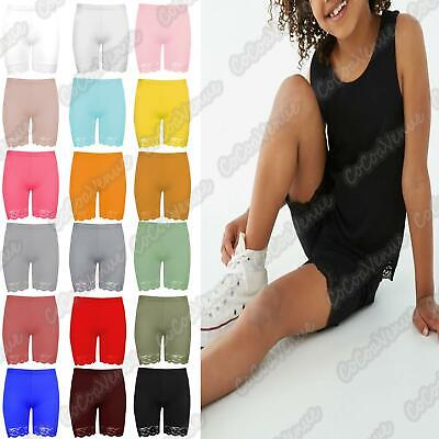 Children Kids Girls Plain Viscose Lace Trim Dance Sports Active Cycling Shorts