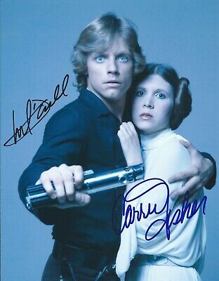Carrie Fisher - Mark Hamill  - Star Wars Movie - Hand Signed Color Photo / Coa