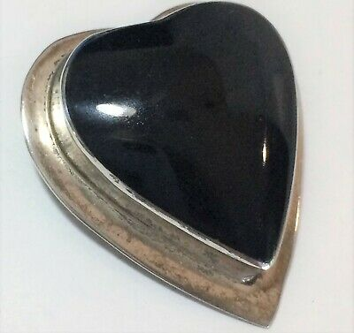 Vintage Mexico Black Onyx Carved Heart Brooch Sterling Silver Setting 519