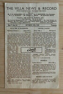 Aston Villa  V Portsmouth (12/10/1946) Rare Old Football Programme