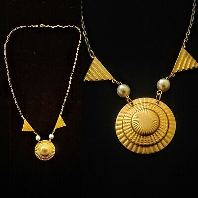 Vintage 1920s Egyptian Revival Old Hollywood Necklace Pretty!