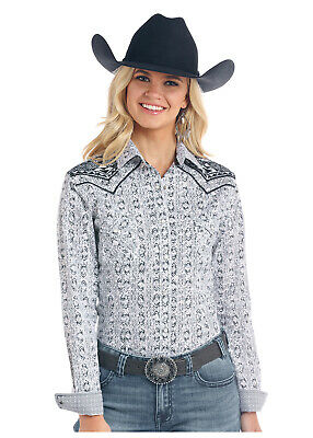 Panhandle Women/'s Aztec Embroidered Long Sleeve Western Shirt R4S9415