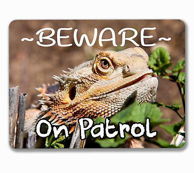 Bearded dragon sign on patrol reptile hanging or fixed aluminium metal