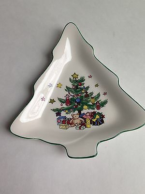 NIKKO Happy Holidays Christmas Tree Shaped Small Candy Dish Nuts Plate, Japan
