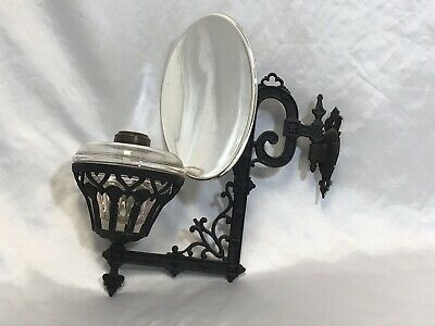 OLD ORNATE ANTIQUE CAST IRON WALL BRACKET OIL LAMP w/REFLECTOR Great Condition