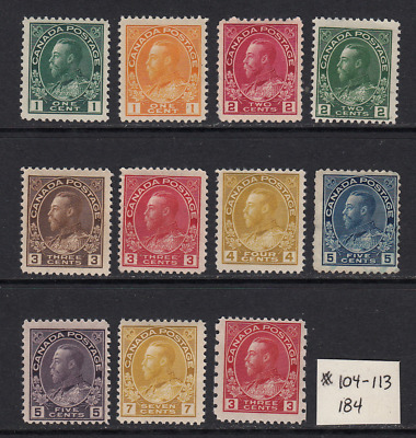 Canada Admiral Issues #104-113, and 184  All Unused  F-VF  CV $240.00  See*