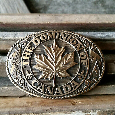 Vintage The Dominion of Canada Brass Collectible Tony Lama Belt Buckle Like New
