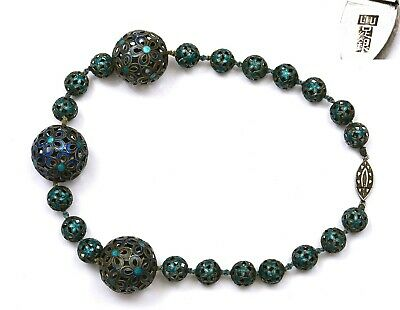 1930's Chinese Sterling Silver Enamel 26 mm Reticulated Bead Necklace Choker Mk