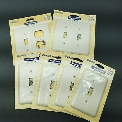 InterDesign Wall Plate Switch Cover White USA Chroma Steel Vtg 1994 LOT OF 6
