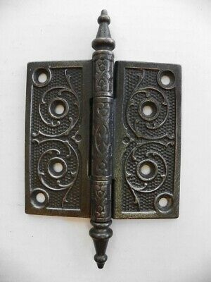 "VINTAGE Cast Ornate Victorian Eastlake Door Hinge 4"" X 4"" Steeple Pin"