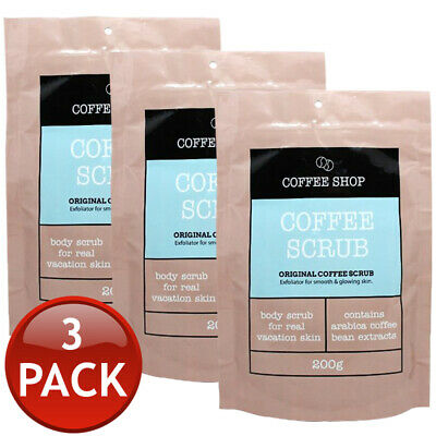 3 x COFFEE SHOP ORIGINAL COFFEE BODY SCRUB REDUCE CELLULITE STRETCH MARKS 200g