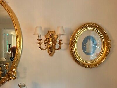 Two FBAI Wall Sconces, made of 24k Gold Plated Cast Bronze F.B.A.I.