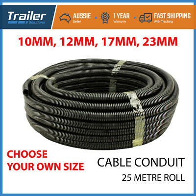 25 Meter Flexible Black Plastic Conduit Wire Cable Pipe Tube 8mm 10mm 12mm 14mm