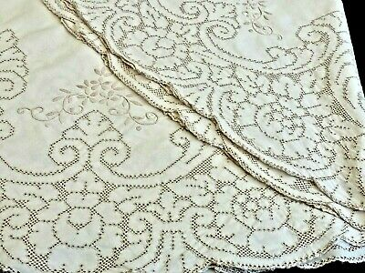 Fabulous Antique Hand Made Italian Burato Lace Round Tablecloth Italy C 1930'S