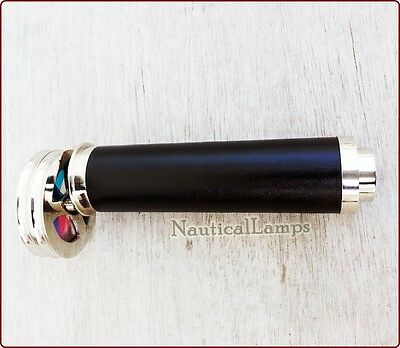Solid Brass Wheel Kaleidoscope Leather Hand Nickel Silver Finish Telescope Gift