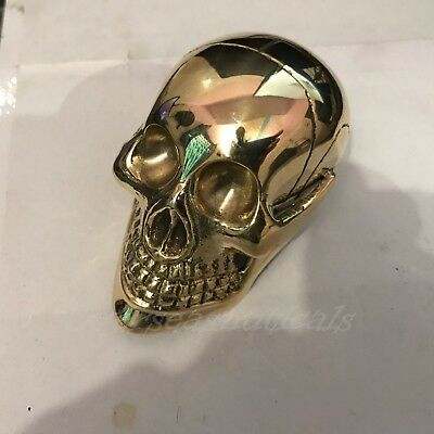 Solid Brass Skull Head Handle For Walking Stick Canes Shaft VINTAGE Style Gift