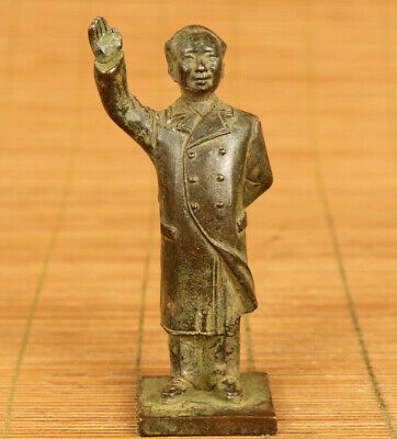 Rare chinese old bronze hand carved Chairman Mao statue netsuke table decoration