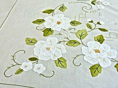 Fabulous Vintage Applique / Embroidery Hand Made Banquet Cream Cotton Tablecloth