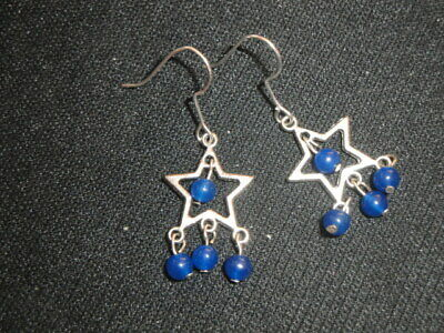 Small petite lightweight blue bead dangle hook star earring child or adult