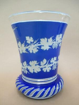 Beaker, Bohemia glass, 1860s, museum quality, grape vine, rare