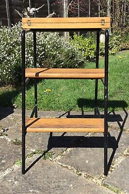 Old Vintage Industrial Black Steel And Pine Kitchen Stool Steps Fab Patina