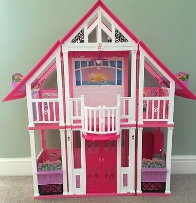 BARBIE PLAYHOUSE WITH Chelsea Doll House Kitchen Furniture Elevator