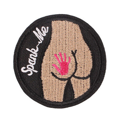 """1pcs """"Spank Me"""" Sexy Embroidered Iron ON Patch for Clothes Applique Badge 2.2"""""""