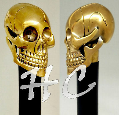 Casting Brass Skull Head Handle Black Wood Designer Walking Cane/Stick Vintage
