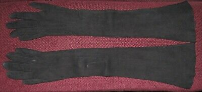 Edwardian Long Black Kid Leather Gloves Good Condition
