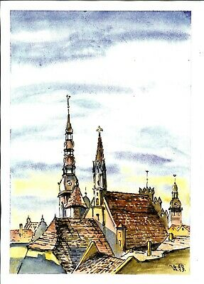 Old town, Cityscape, Europe, Watercolor, Painting, art, original, signed