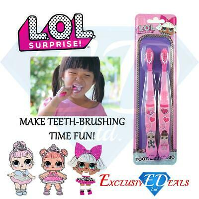Lol Surprise Kids Pink Toothbrush Twin Pack - Designed For Small Hands & Mouths