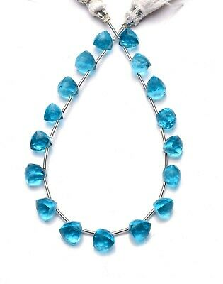 Swiss Blue Topaz Color Hydro Quartz Faceted 7MM Trillion Shape Briolette Beads7""