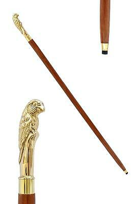 Victorian Style Antique Designer Wood Walking Stick Cane with Solid Brass Handle