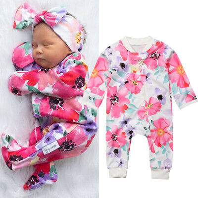 UK Newborn Infant Baby Girl Floral Zipper Romper Jumpsuit Autumn Outfits Clothes