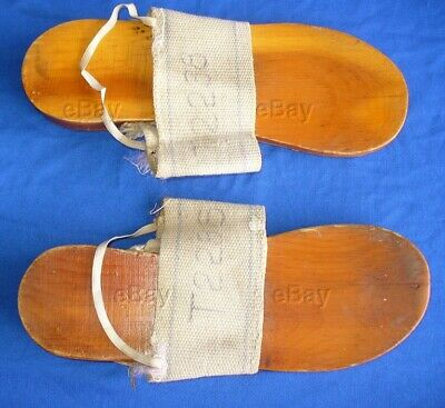 Rare Original Usgi Ww2 Shower Sandals Wood Barracks Shoes Wwii Camp Canvas Used