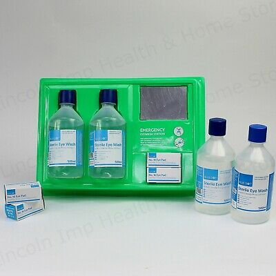 Complete Emergency Eye & Wound Wash First Aid Station or Refills. 500ml Bottles