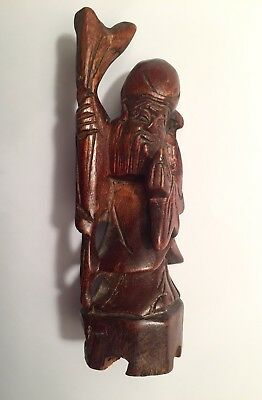 Vintage Oriental Chinese Wooden Longevity Wise Man Figure Statue Ornament