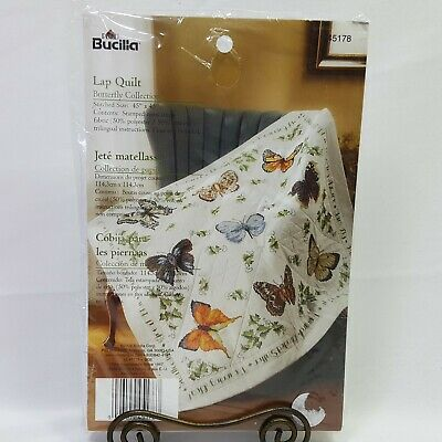 Bucilla Butterfly Collection Lap Quilt Hand Embroidery Kit 45 x 45 inch Crafts