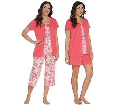 Carole Hochman Daisy Floral Baby French Terry 4-Pc Lounge Set-Coral-Petite Small