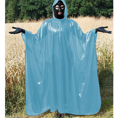 Latex 100% Rubber Gummi Long Trench Coat  Light Blue Hooded Catsuit Sexy  S-XXL