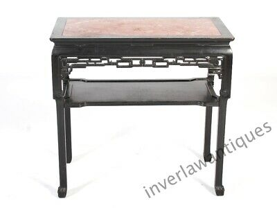 A Stunning Large Chinese, 19th C Qing Dynasty Blackwood Side Table Marble Top