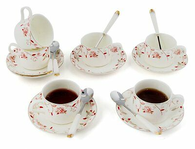 Porcelain Tea Cup and Saucer Coffee Cup Set with Saucer and Spoon 18 pc s6