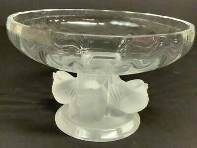 Lalique France Crystal Compote With Four Birds
