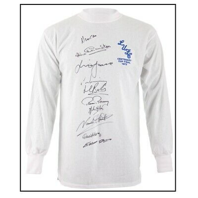 Photo Proof 1972 Fa Cup Leeds Multi Signed Shirt By 10 Coa Autographs