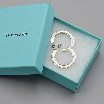 5cae18585 AUTHENTIC TIFFANY & CO. HTF 1837 STERLING 925 SILVER Squared Hoop ...