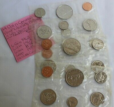 24 Coin Canada Proof-Like Sets 4 Sets Unc In Cellophane Canadian 1968-1987 K66