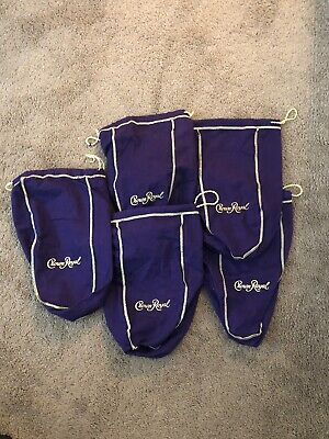 Crown Royal Purple Gold Drawstring Bags Lot of 5